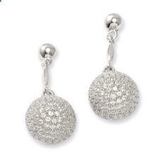 .925 Sterling Silver CZ Bubble Dangle Earrings Sterling Silver Jewelry Available Exclusively at Gemologica.com
