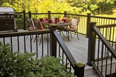 The deck railing style you selected for your new deck is the piece de resistance of the task. Safety is the useful consideration behind the setup of railings, and you need to additionally . Read Best Deck Railing Styles Ideas and Installation Guide Deck Stain Colors, Deck Colors, House Deck, Up House, Dark Deck, Metal Balusters, Deck Makeover, Deck Railings, Stair Railing