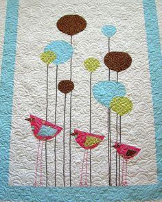 Wee Three BirdsCrib Size Quilt by TheBobbinsNest on Etsy, $195.00
