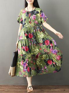 33512673f7f Floral Print Patchwork Short Sleeve O-neck Vintage Dresses is high-quality