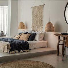 Bedroom White Mirror Round Lamp Rattan #WeLoveDesign