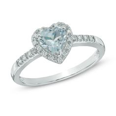 6.0mm Heart-Shaped Aquamarine and Diamond Accent Ring in 10K White Gold