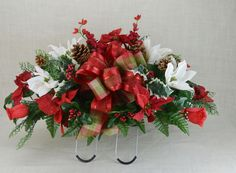 Christmas with Red Poinsettias , White Magnolia With  Ribbon Silk Flower Cemetery Tombstone Saddle Cemetery flowers , Grave flowers. by AFlowerAndMore on Etsy