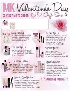 Valentines Day Specials you won't want to miss!!!  Contact me, your Mary Kay Independent Beauty Consultant Today!