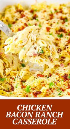 This Chicken Bacon Ranch Casserole is an easy dinner recipe that your family is sure to love! It's creamy and full of flavor with ranch seasoning mix, melted cheese and bacon! Great Dinner Recipes, Chicken Bacon Ranch Casserole, Ranch Seasoning, Cream Of Chicken Soup, Melted Cheese, Pudding Recipes, Rotisserie Chicken, How To Cook Chicken, Main Meals