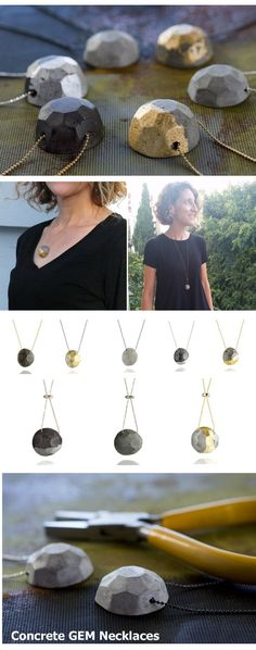 Concrete GEM collection by BAARA Jewelry. Handmade geometric concrete pendants inspired by gemstones and combined with precious metals to create urban, geometric jewelry.