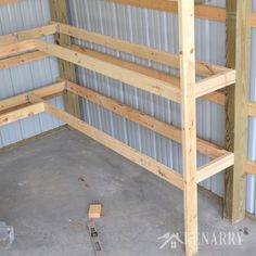 Great idea for DIY corner shelves to create storage in a garage or pole barn! Learn how to make DIY Corner Shelves for your garage or pole barn in this easy step-by-step tutorial. This storage solution will help you get organized. Shed Shelving, Garage Storage Shelves, Barn Storage, Garage Shelf, Garage Workbench, Pantry Storage, Storage Area, Small Storage, Storage Room