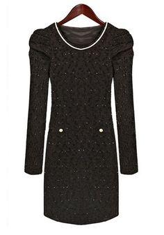 Black Hip-huggers Cap Sleeve Cotton Blend Dress
