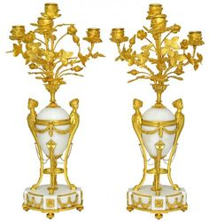 """Pair of candlesticks """"bouquet of flowers"""" in gilt bronze and marble"""