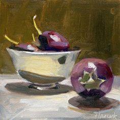 """Silver Bowl and Eggplant on Dark Gold"" - Original Fine Art for Sale - © Gretchen Hancock"