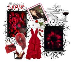 """""""Red & Black"""" by lawvel ❤ liked on Polyvore featuring Oscar de la Renta, Charlotte Olympia, Gucci, Andrew Marc, Chanel, Hanky Panky and Brewster Home Fashions"""