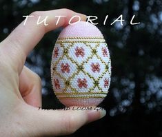 Beaded Easter Egg with Swarovski Crystals by thebeadloomgallery Bead Crochet Patterns, Crochet Motif, Beading Patterns, Easter Crochet, Crochet Crafts, Easter Egg Pattern, Easter Egg Designs, Egg Art, Beaded Ornaments