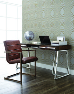 ALMA DESK   Designed with contrasting materials, this desk will add interest and function to various spaces. A smoked brown acacia wood veneer frame is uniquely complemented with polished stainless steel hardware and a matching base.
