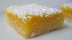 "Lemon bars, lemon bars!!  These are Dave's f-f-favorite dessert in the whole world.  Well, next to ice cream of any flavor.  I've botched experiments in the past trying to come out with lemon bars close to the same texture and taste as ""conventional"" lemon bars.  It's taken me many trials, but this is it I…"