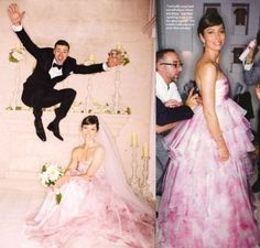 """Jessica Biel Pink Wedding Dress By Giambattista Valli:  The look Biel was going for on her bid day was """"romance, romance,romance"""". So she turned to designer and longtime Pal Glambattista Valli to create her custom confection."""