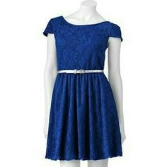 Royal Blue Mudd Lace Dress with Silver Belt Used blue Mudd dress Lace No stains Short over the shoulder sleeves Low back The Belt does show a little wear on it, but only up close Mudd Dresses Mini