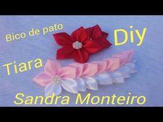 Ramo bicolor para tiara, feita com fita de cetim, passo a passo 2017, DIY, Sandra Monteiro - YouTube