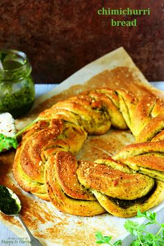 A stunning braided wreath bread and fluffy bread rolls, all stuffed with a delicious chimichurri sauce. Bread Winners, Braided Bread, Thing 1, Chimichurri, Bread Rolls, Quick Easy Meals, Bread Recipes, Baked Goods, Food Processor Recipes