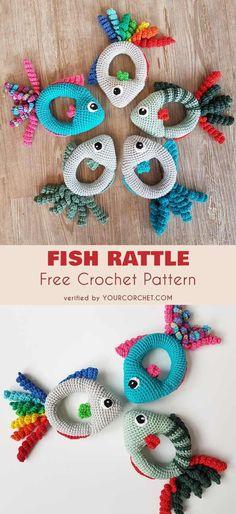 Fish Rattle Free Crochet Pattern #freecrochetpatterns #crochettoy #amigurumipattern #babyrattle #babyshowergifts