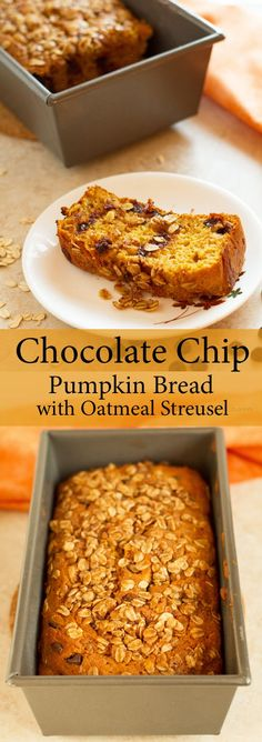 Moist chocolate chip pumpkin bread with brown sugar oatmeal streusel. Great for breakfast or snack. Easy to make chocolate chip pumpkin bread. Pumpkin Chocolate Chip Bread, Pumpkin Butter, Chocolate Muffins, Pumpkin Bread, Healthy Desserts, Easy Desserts, Dessert Recipes, Autumn Desserts, Party Recipes