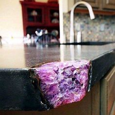 Home Interior Apartment Broken kitchen counter corner fixed with an amethyst crystal cluster. All that comes to mind are the many times I Deco Nature, Decoration Inspiration, Decor Ideas, Art Ideas, Decorating Ideas, Kitchen Inspiration, Room Inspiration, Design Inspiration, My New Room