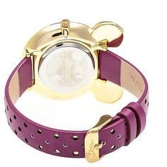 Boum Mignonne Ladies Mouse Accented Leather-Band watch - Gold/Plum, Flashbulb Fuschia