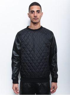 Clothsurgeon Quilt Leather Sleeve Sweater