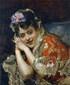 Aline Masson with a White Mantilla  Raimundo de Madrazo y Garreta