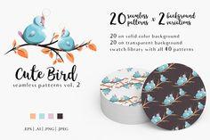 Cute Bird Patterns Vol. 2 by BlueOceanArtStore on @creativemarket
