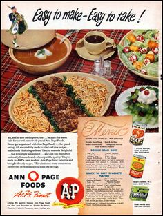 "Ponnie Bean Soup ~ Quick 'N"" Easy Spaghetti Platter WOMAN'S DAY 01/01/1949 p. 16"