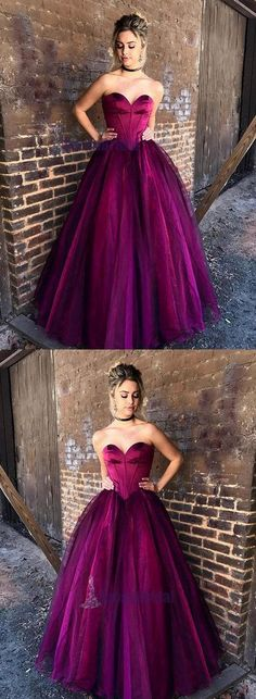 Sweetheart Long Strapless Formal Elegant Gorgeous Prom Dresses, Prom Gowns, Evening Dress, PD0530