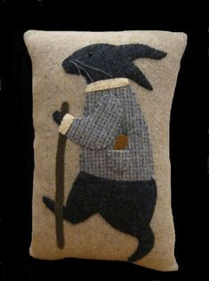Primitive Wool Applique Rabbit Pillow