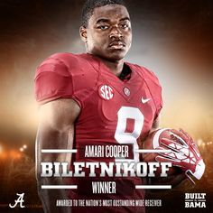 Congrats to Amari Cooper - First Bama player ever to win the Biletnikoff Award and only the second player ever in the SEC!