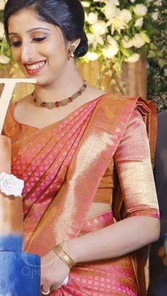 Kerala Wedding Saree, South Indian Bride Saree, Kerala Bride, Wedding Silk Saree, Kerala Engagement Dress, Engagement Dress For Bride, Engagement Saree, Christian Wedding Sarees, Christian Bride