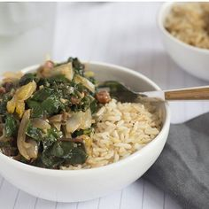 """How about a big bowl of Coconut Swiss Chard over Jasmine Rice? This vegetarian dish has Thai influences of ginger lime and coriander. #mealkit #thaifood #vegetarian #coconut #farmtofork #delish"" @peachdish"