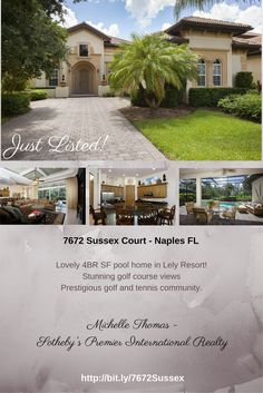 Enjoy the luxury lifestyle in beautiful #Lely in #Naples. Stunning golf course views from this spacious, 4BR single family pool home. Fantastic #golf course community - private memberships available.  Call Michelle Thomas at 239-860-7176 for more information.