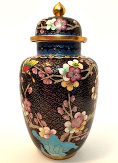 "Vintage Asian Cloisonne Ginger Jar Vase 8"" Tall Japan, Ginger Jars, Jar Lids, Porcelain Vase, Chinese Art, Vases, Perfume Bottles, Enamel, China"