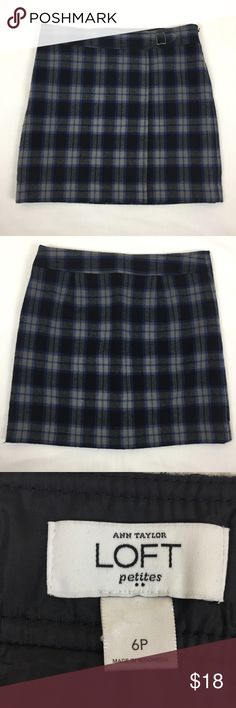 """LOFT Wool Blend Lined Plaid Mini Skirt Ann Taylor LOFT Petite Women's 6P Mini Skirt Wool Blend Lined Blue Plaid  Brand: Ann Taylor LOFT Size: 6P Material: 95% Acrylic 5% Wool  Color: Blue Plaid Measurements (laying flat):        Waist 16""""      Hip 18""""      Length 16.5"""" Condition: Excellent pre-owned Ships in 24 hours!!! G LOFT Skirts Mini"""
