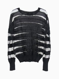 Knitted Transparent Stripe T-shirt In Black