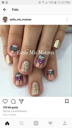 Sencillas Nails - Images in 2020 Aycrlic Nails, Love Nails, Manicure And Pedicure, How To Do Nails, Pretty Nails, Hair And Nails, Nail Trends, Beauty Nails, Nail Art Designs