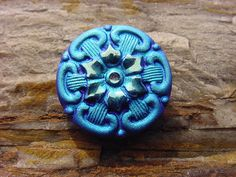Blue Star Velvet Flower Czech Glass Button by vintagebeadnut, $6.00