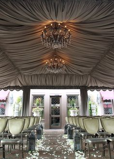 A Beyond Gorgeous Ceremony Set-Up Complete with a Gray Silk Covered Ceiling & Fantastic Chandeliers
