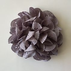 """ONE 3""""  Large Grey Eyelet Fabric Flower-Applique-hairbow supplies-diy wedding-crafts-scrapbook-headband supplies-wholesale Flowers-Bulk by BBBSupply on Etsy"""