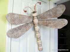 Table Leg Dragonflies with Textured Medallion Pattern Wings Using Stencils | Lucy Designs
