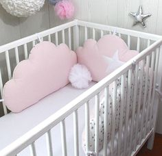 Baby cot bumpers for wide, 3 cloud cushions, pale pink, white/grey stars Baby Cot Bumper, Crib Pillows, Cloud Cushion, Powder Pink, Decoration, Pale Pink, Babys, Cribs, Toddler Bed