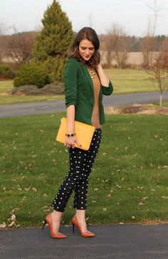 Latest outfit from PennyPincherFashionista - gold statement necklace, cognac pointy pumps, camel sweater, emerald green blazer, polka dot skinny pants, yellow clutch bag, vintage emerald bracelet - share your style via http://www.fashbo.com