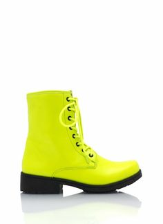 Look like a tough chic in these mid-rise combat boots. We especially love how these faux leather boots have a stacked heel for added stability, as well a hidden side zipper. Neon color may vary.$25.95
