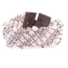 Chan Luu - Pink Mix Crystal Cuff Bracelet on Brown Leather, $85.00 (http://www.chanluu.com/pink-mix-crystal-cuff-bracelet-on-brown-leather/)