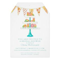Décorée Macarons Pâtisserie  Bunting Bridal Shower Personalized Invitations