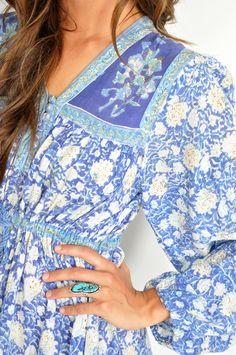 Vtg 70s Blue ETHNIC INDIA GAUZE FESTIVAL Floral Boho Hippie MIDI Sun Dress S/M | eBay